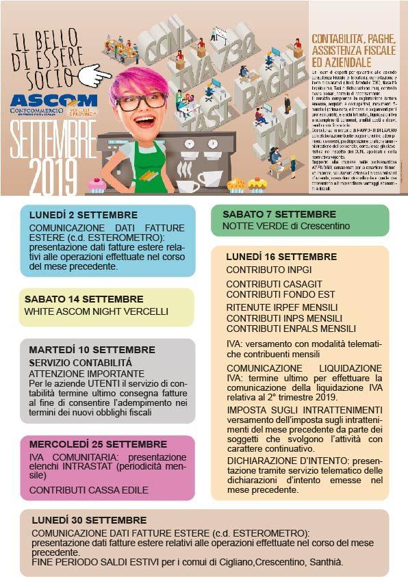 Pagina Di Calendario Settembre 2019.Settembre 2019 Tutti Gli Appuntamenti Il Commercio